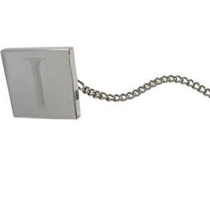 Letter I Etched Monogram Pendant Tie Tack
